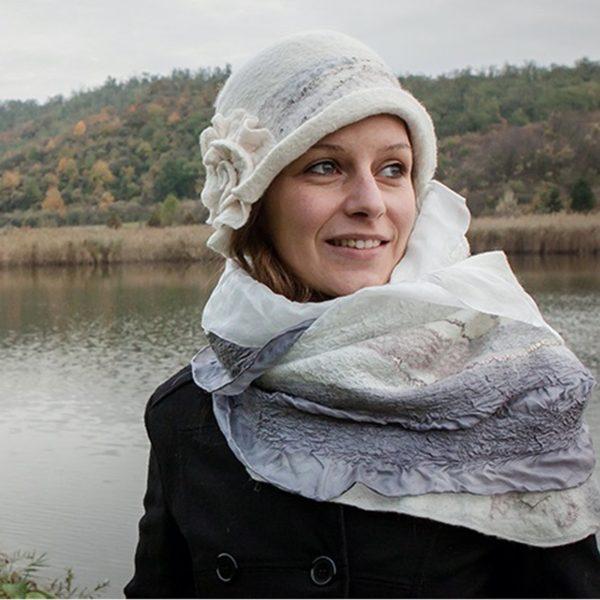 Fehér romantikus női kézműves nemez kalap, 30-as évek