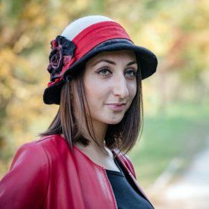 Fekete-fehér női vintage gyapjú kalap piros selyem szalaggal