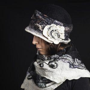 Fekete-fehér női vintage gyapjú kalap