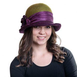 Zöld-lila női vintage gyapjú kalap
